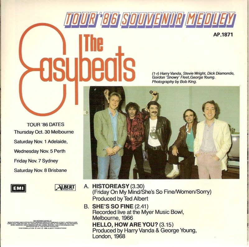 45cat The Easybeats Historeasy Tour 86 Souvenir Medley Albert Productions Australia With Images George Young George Medley