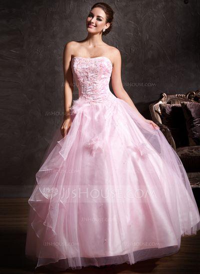 6a8476f848 Corte de baile Escote corazón Vestido Satén Tul Vestido de quinceañera con  Encaje Bordado Flores Cascada de volantes (021004665)