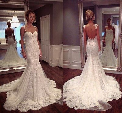 Vintage Open Back Mermaid Wedding Dresses Spaghetti Strap Sweetheart ...