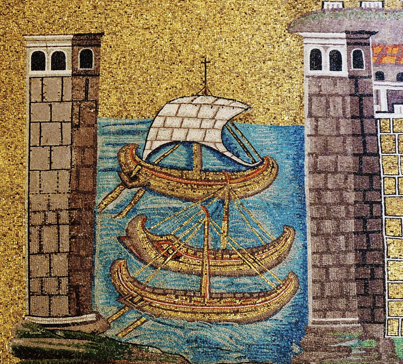 Classe The Ancient Port Of Ravenna Basilica Sant Apollinare Nuovo Thi 504 Ce Wall Mosaic I Original To Arian Palace Churc Art Byzantine Roman Sailing Byzantium Paraphrase