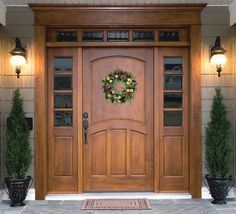 6 Panel Wood Entry Door With Sidelights Transoms Pediment