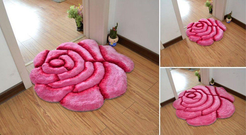 Rose Design Rugs /Carpet,Flower Shape Shaggy Bedroom Area