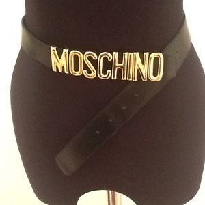 "Vintage 1980s Black Moschino Logo Leather Designer Belt UK 23-32"" Adjustable"