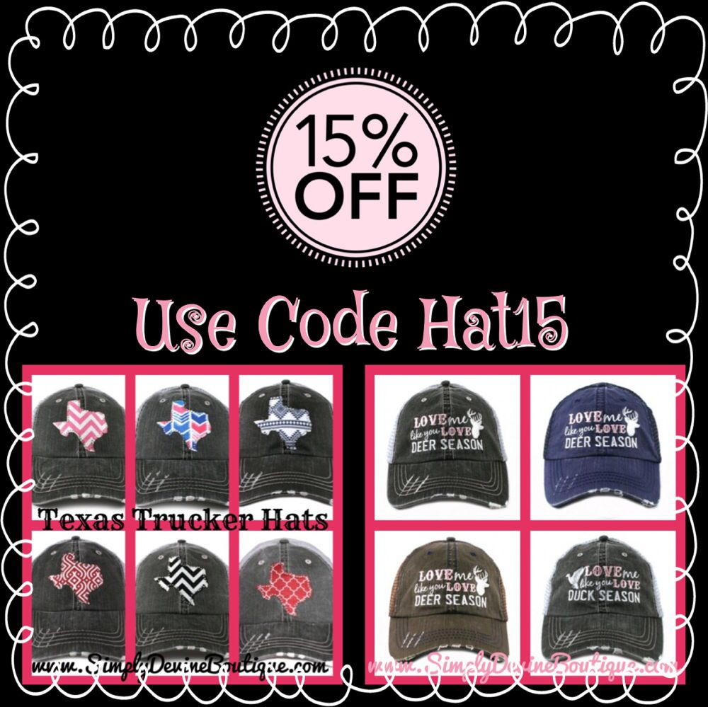 Take 15% off all Hats when you use code HAT15 when you check out at www.iShopSimplyDevine.com