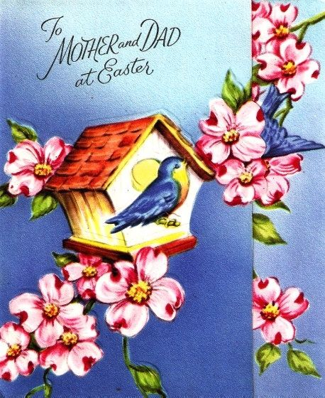 Vintage to mother and dad at easter bluebird greeting card vintage easter card bluebirds bird house springtime by paperprizes m4hsunfo Image collections