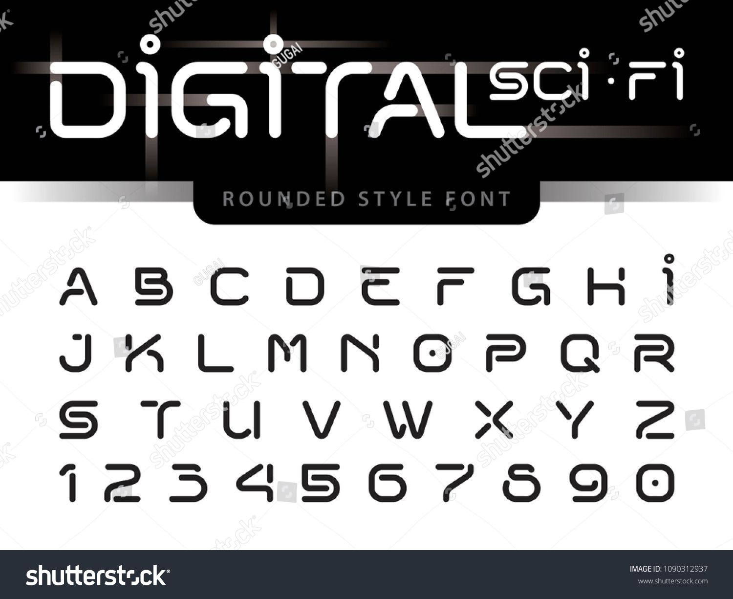 Vector Of Futuristic Alphabet Letters And Numbers One Linear Stylized Rounded Fonts Digital Techno Black Minimal In 2020 Lettering Alphabet Sci Fi Fonts Letter Set
