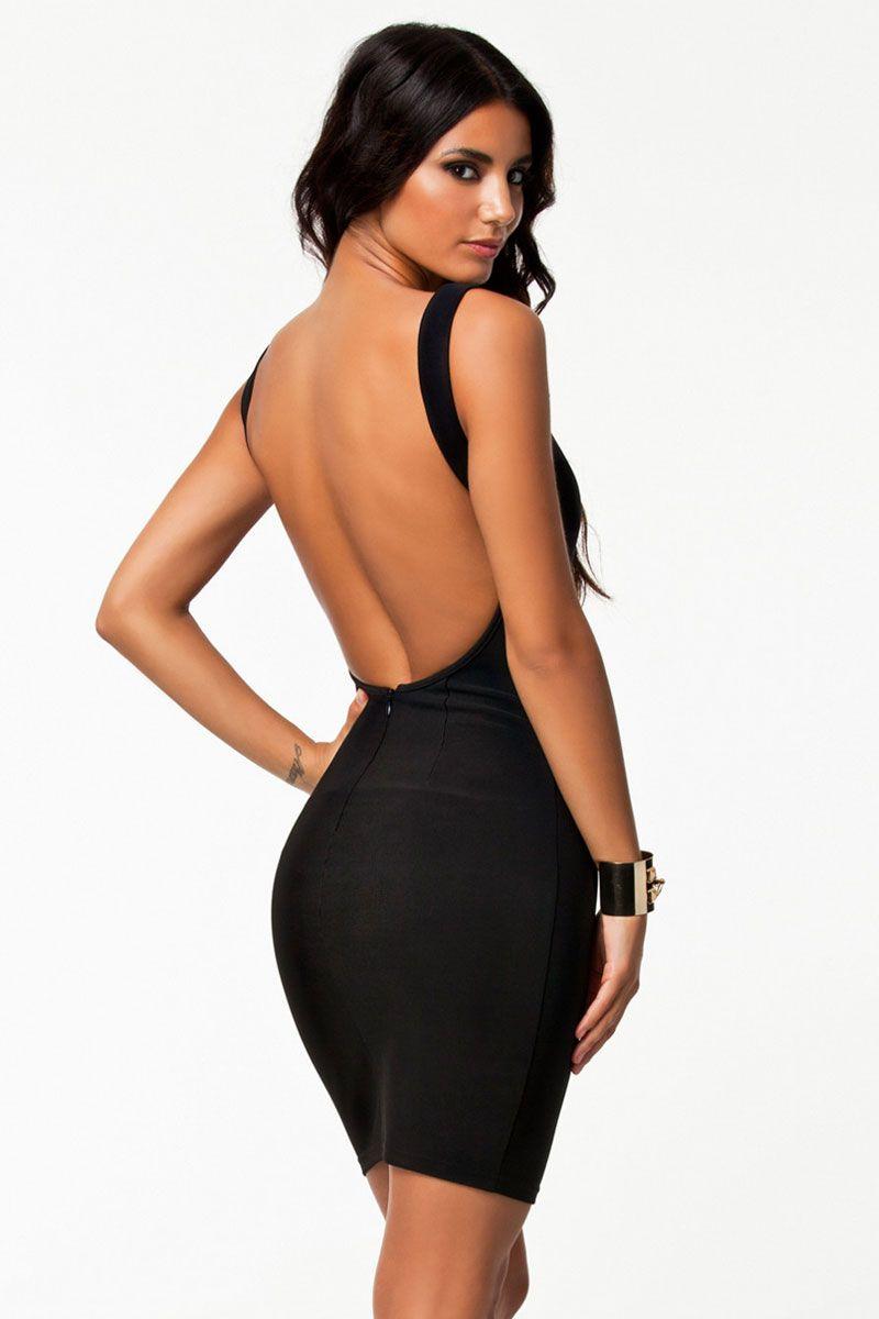 Black Bare Back Sexy Party Mini Dress  efa6502df