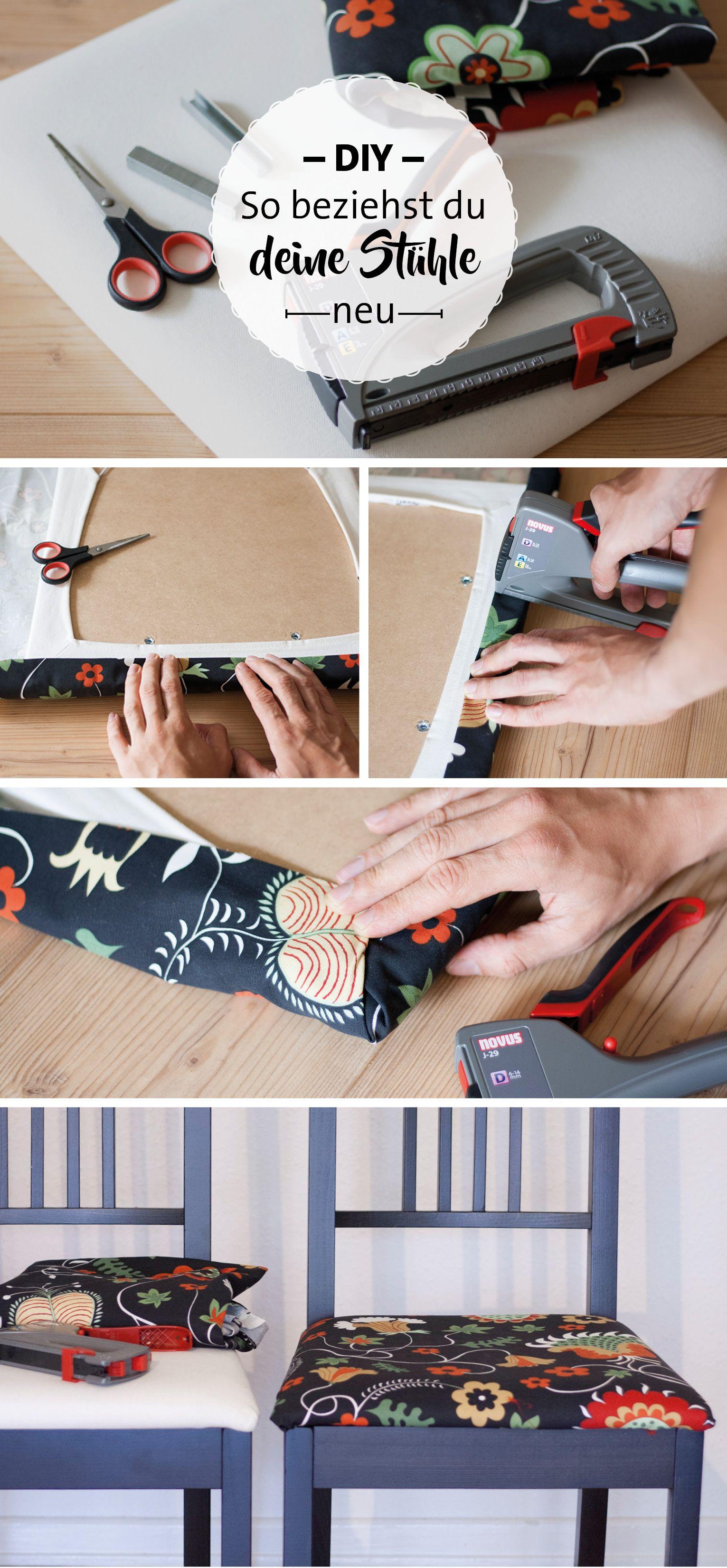 Anleitung Stühle selber beziehen. DIY Stühle mit einem Handtacker ...