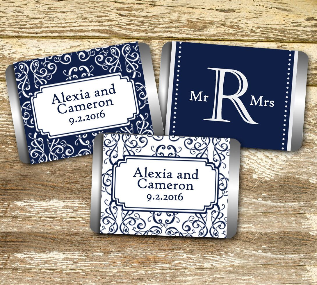 Mini Candy Bar Wrer Wedding Navy Personalized Hershey