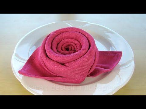 servietten falten rose bl te blume einfache diy tischdeko basteln rund ums essen. Black Bedroom Furniture Sets. Home Design Ideas