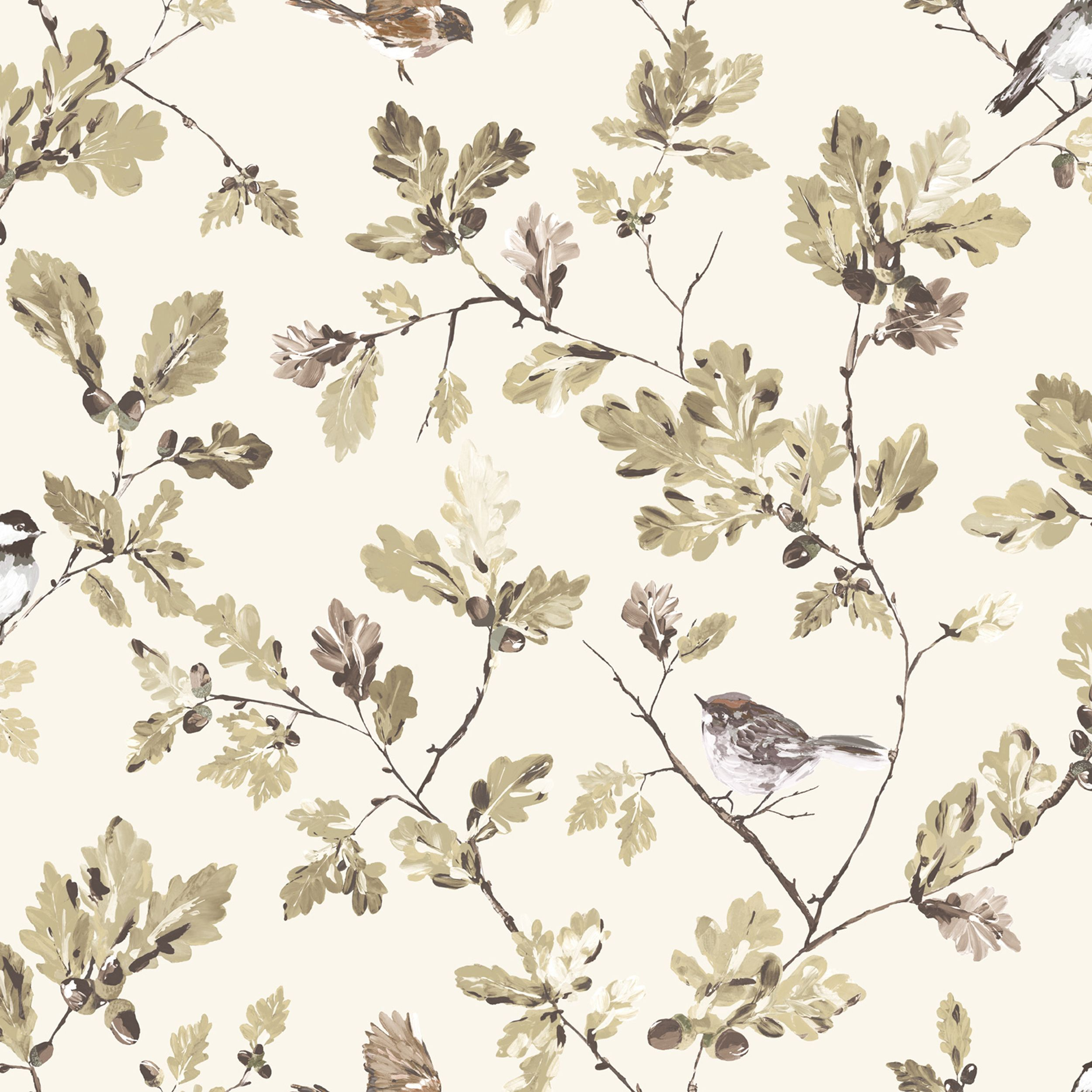 Acorn Trail Brown Cream Floral Birds Mica Wallpaper