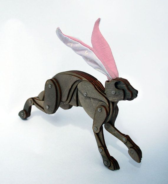 Little Poseable Grey Hare with Pink Ears by LauraMathewsArtist
