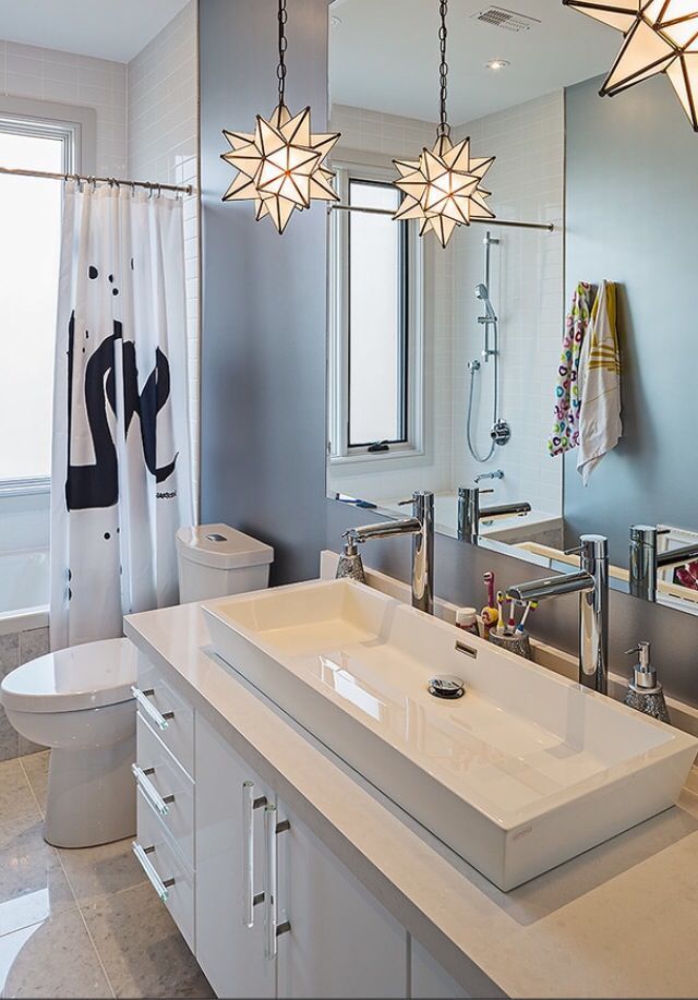 Image From Houzz Like The Idea Of Two Taps And One Sink Bathroom Remodel Master Eclectic Bathroom Glass Star Light