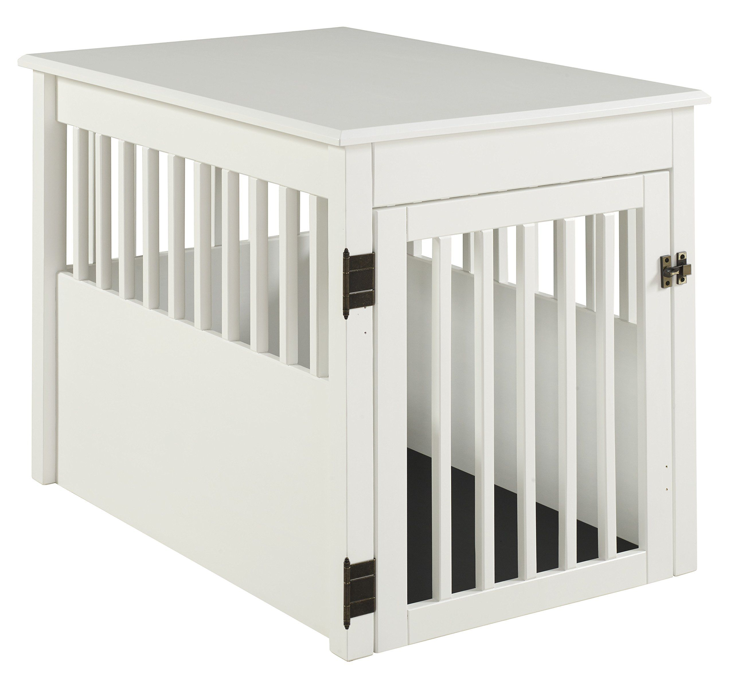 BarkWood Large Pet Crate End Table White Finish ** Click