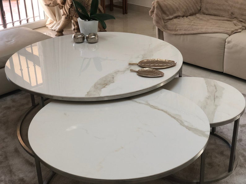 Set Of 2 Round Coffee Tables Side Table Round Marble Coffee Etsy In 2020 Marble Round Coffee Table Marble Side Table Round Round Coffee Table