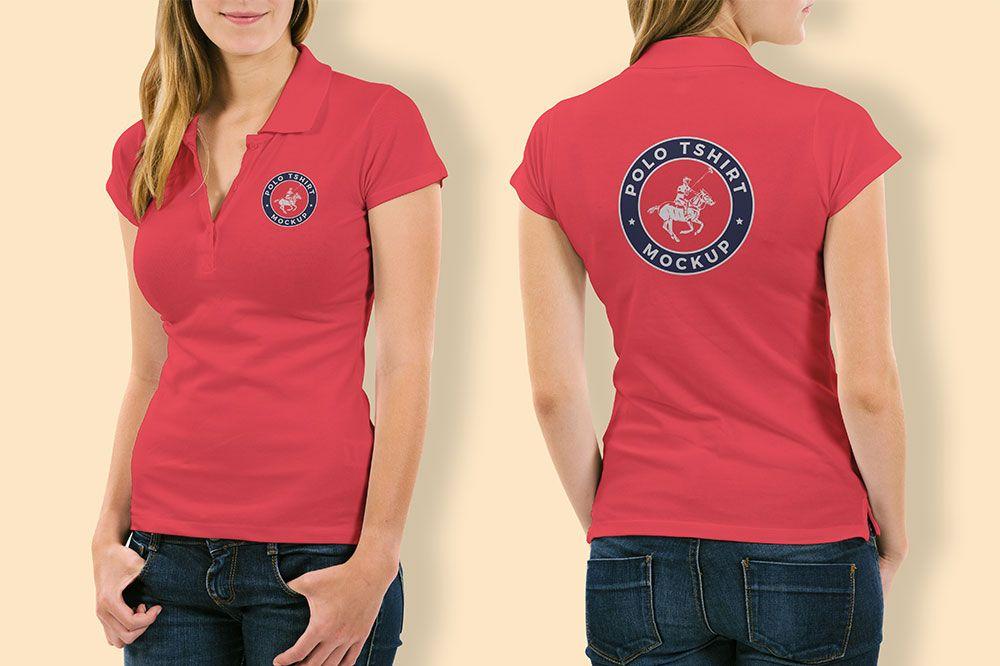 Polo T Shirt Mockup Front And Back Psd Free Free Woman Polo Shirt Mockup Free Woman Polo Shirt Mockup Psd Fashion Polo Shirt Women T Shirts For Women Shirt Mockup