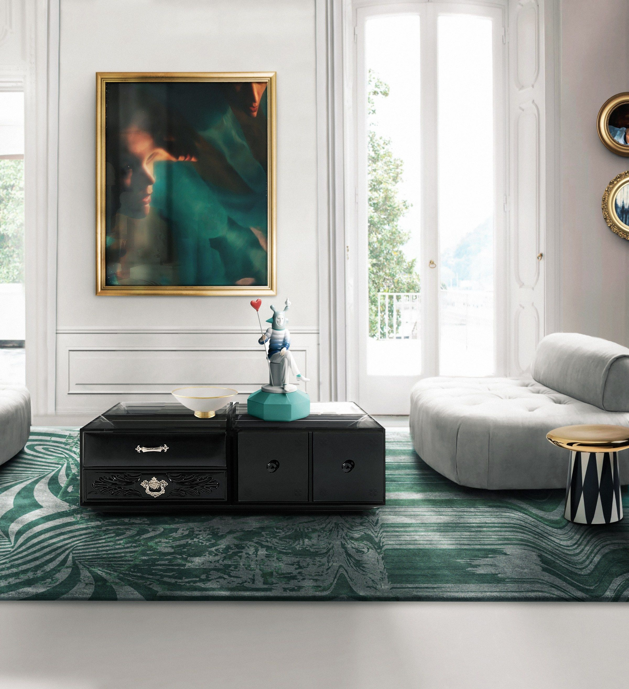 green rug | On top of the rug is the gorgeous SOHO Coffee Table by ...