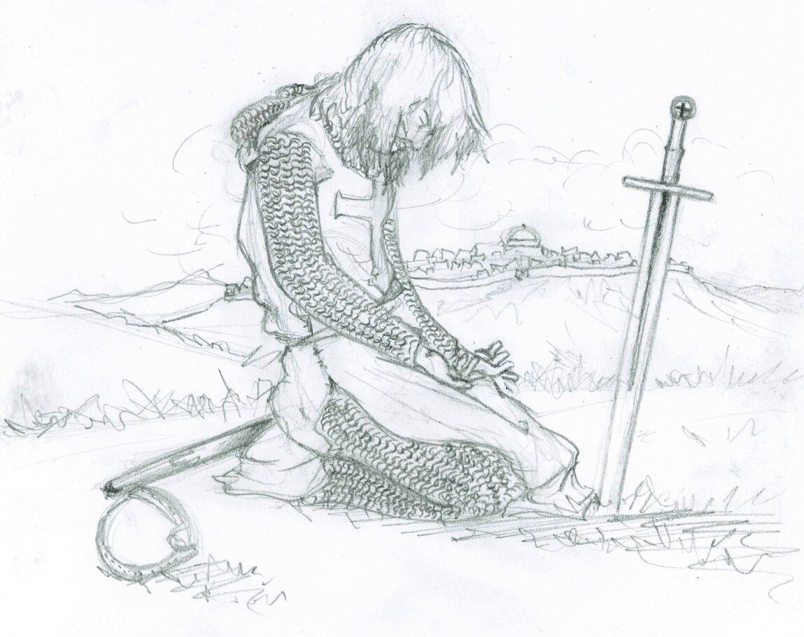 Knight sad kneeling bowing sword grave how to draw manga anime