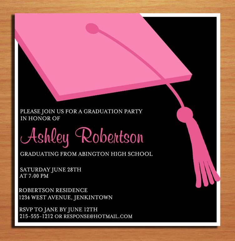 Pink clapboard hat graduation party invitation cards printable diy pink clapboard hat graduation party invitation cards printable diy 1500 via etsy stopboris Choice Image
