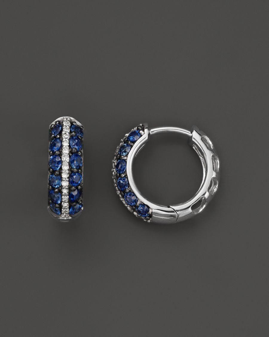 64b8de78e Sapphire and Diamond Huggie Hoop Earrings in 14K White Gold - 100%  Exclusive #diamondhoopearrings