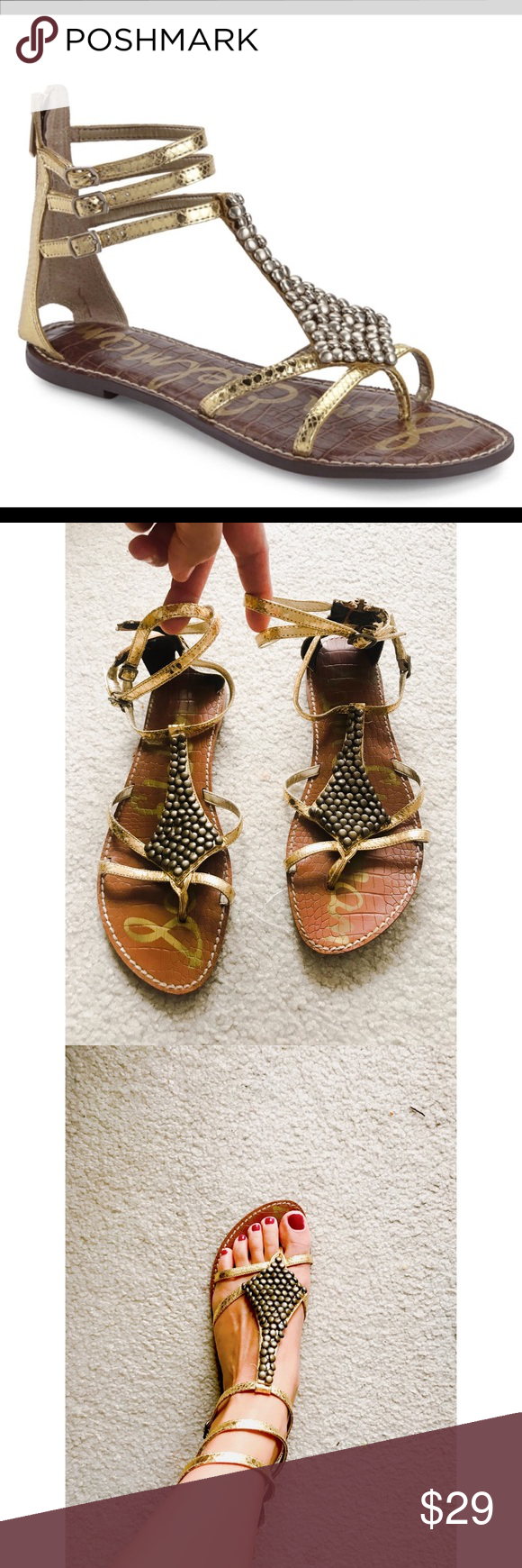 7decda00726 Sam Edelman Gold Ginger Gladiator Sandals Sam Edelman Gold Ginger Gladiator  Sandals. Super cute gold
