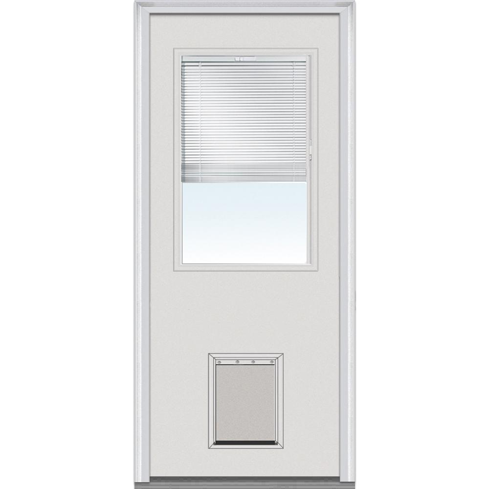 Mmi Door 32 In X 80 In Internal Blinds Right Hand Inswing 1 2 Lite Clear Primed Steel Prehung Front Door With Pet Door Emjf684blpr28r The Home Depot Pet Door Prehung Doors Mmi Door
