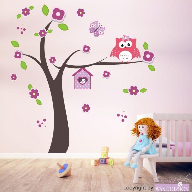 schöne Wanddeko Idee fürs Mädchenzimmer - blühender Baum und ...
