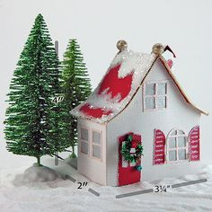 the carlie a miniature christmas village house pdf template to cut create and decorate with paper glitter - Mini Christmas Village Houses
