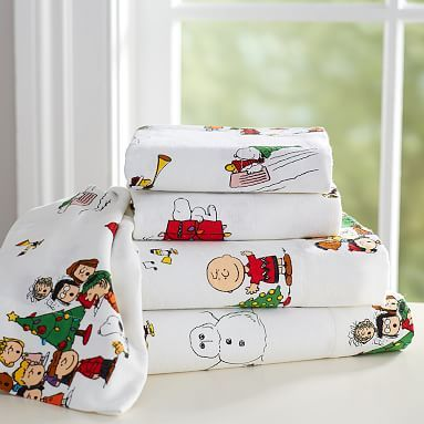Peanuts(R) Flannel Sheet Set, Queen, White | Flannels, Christmas ...
