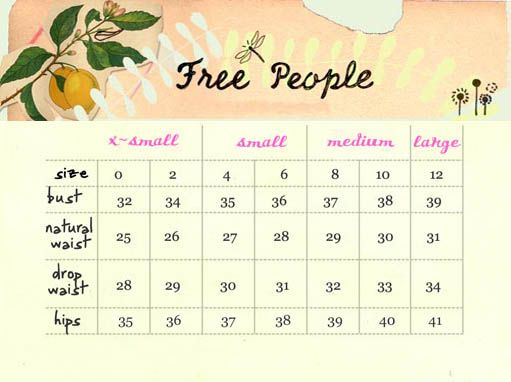 Free People Size Chart Other Brands Charts