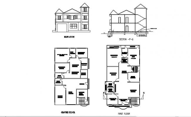 Floor Plan Of Residential House 13 200mtr X 20 775mtr With Section And Elevation In Autocad Floor Plans Open House Plans House Plans
