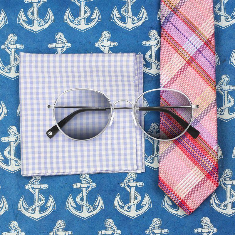 Madras karierte Krawatte und Sonnenbrille