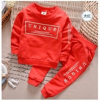 2015 new Boys fashion clothing set kids sports suit children tracksuit baby sweatshirt pants gogging clothes casual is part of Clothes Casual Prince -    Material100% Cotton Multiple colorsRed   Yellow   Navy blue   Grey  hello,dear,we have four size73cm,80cm,90cm,100cm,110cm 73cm  coat length is 36cm,bust is 26X2cm,sleeve length is 31cm,pant length is 46cm,73cm size is fit for 7080cm  80cm  coat length is 38cm,bust is 28X2cm,sleeve length is 35cm,pant length is 48cm,80cm size is fit for 8090cm  90cm  coat length is 40cm,bust is 30X2cm,sleeve length is 39cm,pant length is 52cm,90cm size is fit for 90100cm  100cm  coat length is 42cm,bust is32X2cm,sleeve length is 43cm,pant length is 54cm,100cm size is fit for 100110cm   110cm  coat length is 44cm,bust is34X2cm,sleeve length is 43cm,pant length is 56cm,110cm size is fit for 110120cm