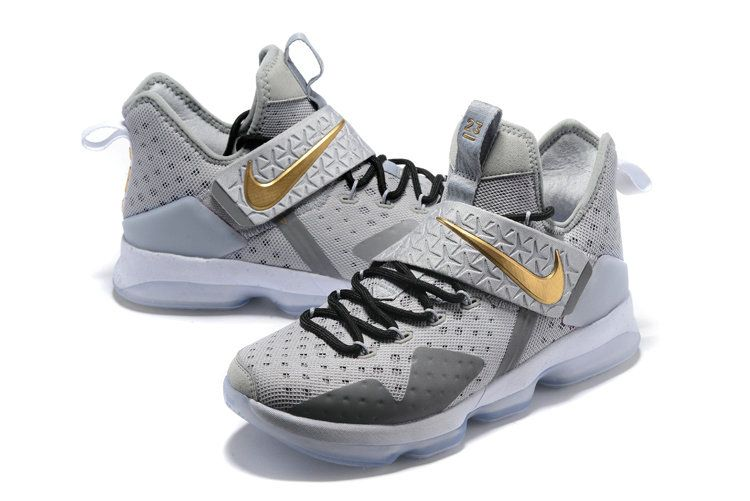 cheap for discount 2c2b0 09f5d Latest LBJ Sneakers Cheap Size US 7 7.5 9 10.5 13 LeBron 14 OPENING NIGHT  Wolf Grey Metallic Gold