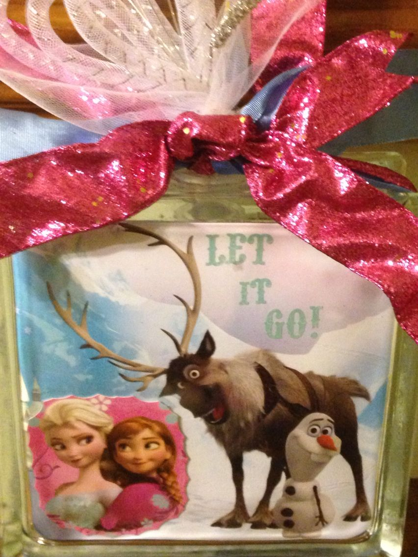 Let it go glass block SOLD