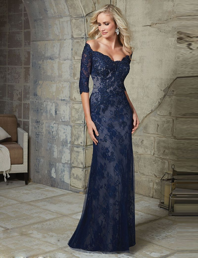 44657119622 Elegant Navy Blue Off shoulder Mermaid Lace Mother of Bride Dress 2016 Long V  neck Applique Mother Dress For Wedding M10-in Evening Dresses from Weddings  ...