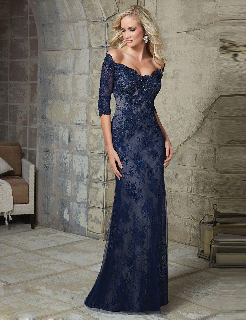 Elegant Navy Blue Off Shoulder Mermaid Lace Mother Of