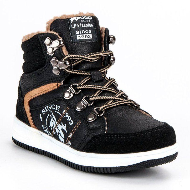 Buty Sportowe Dzieciece Dla Dzieci Americanclub American Club Czarne Ocieplane Sportowe Trampki American High Top Sneakers Dc Sneaker Shoes