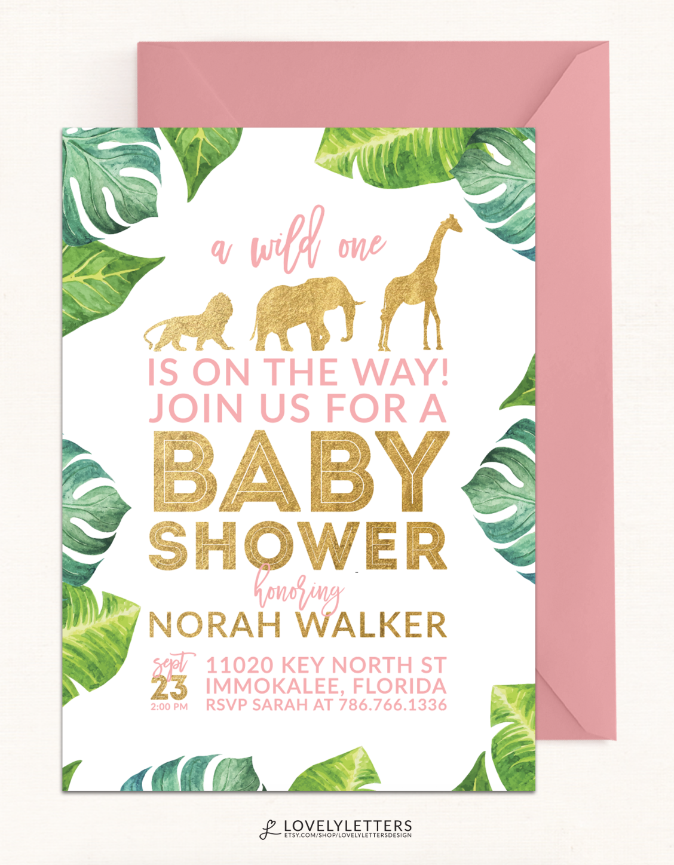 safari shower invitation golden baby shower invitation digital