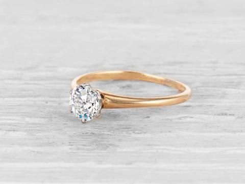 1ec257900 Vintage Tiffany & Co. solitaire engagement ring made in 18K yellow gold and  platinum centered with a GIA certified .65 carat H color VS1 clarity ...