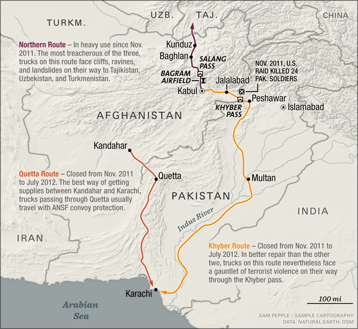 Mapping the routes out of Pakistan for Foreign Affairs. July, 2012