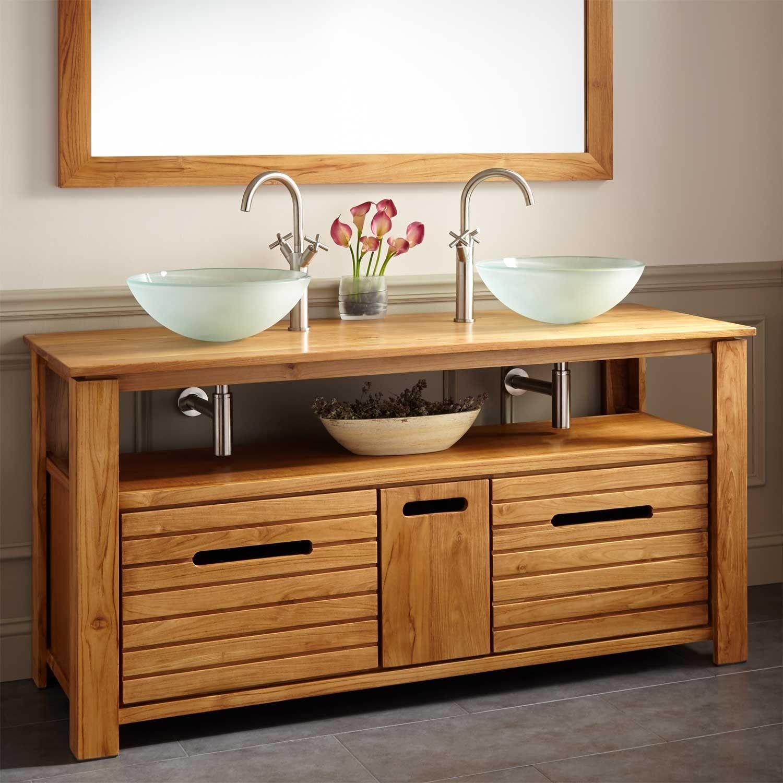 60 Simmons Teak Double Vessel Sink Vanity Bathroom Vanity Vessel Sink Vanity Modern Bathroom Vanity