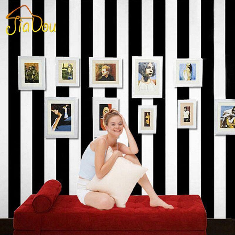 Best Modern Black White Vertical Striped Wallpaper For Living 640 x 480