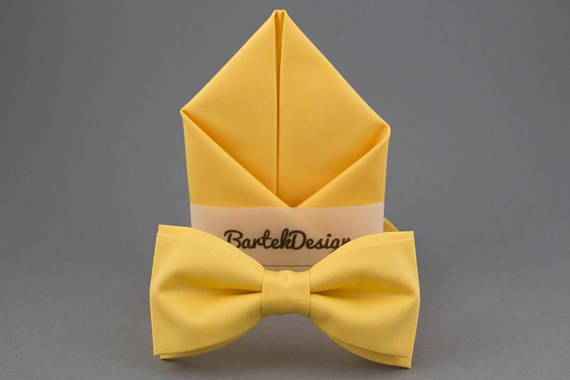 Yellow Bow Tie Yellow Pocket Square Yellow Matching Set Bow