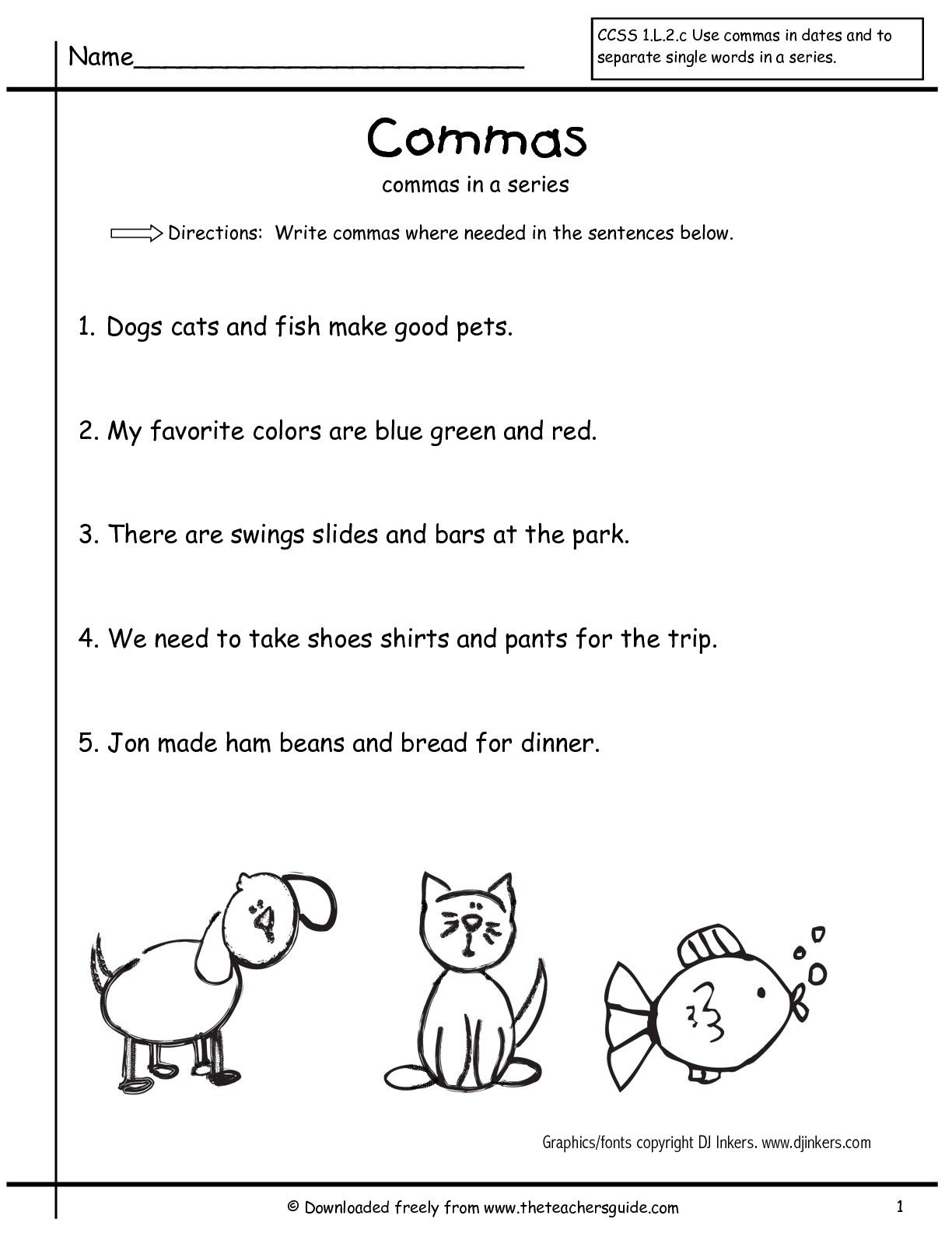 Worksheets Grammar Worksheets For 1st Grade grammar worksheets commas in a series first grade free comma worksheets