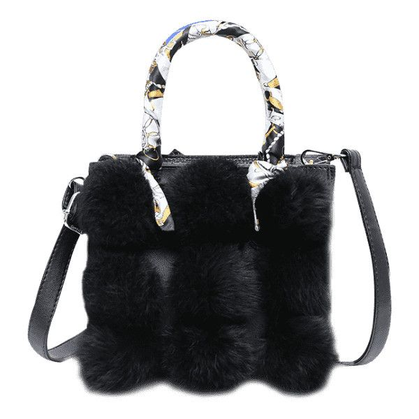 Scarf Pompoms Handbag With Strap Black (635.345 VND) ❤ liked on Polyvore featuring bags, handbags, shoulder bags, hand bags, handbag purse, handbags shoulder bags, man bag and pom pom handbag