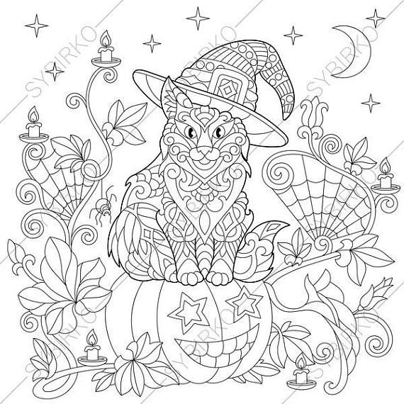 Coloring pages for adults. Cat. Kitten. Bats. Halloween