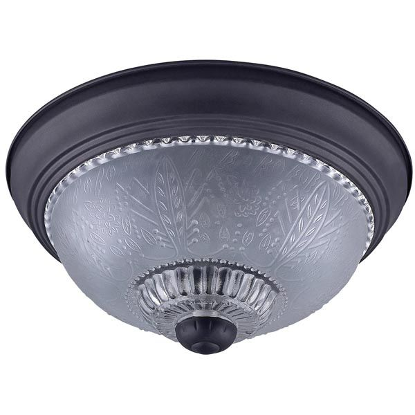 """IFM911 ORB,  11""""  2 Bulb Flush Mount, Frosted Floral Glass, 40W Type A, 11"""" W x 5 1/8"""" H"""
