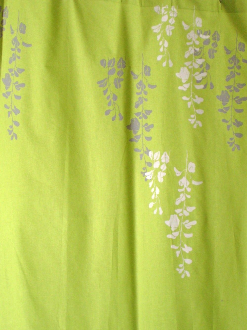 Superior Lime Green Curtain With Wisteria Print