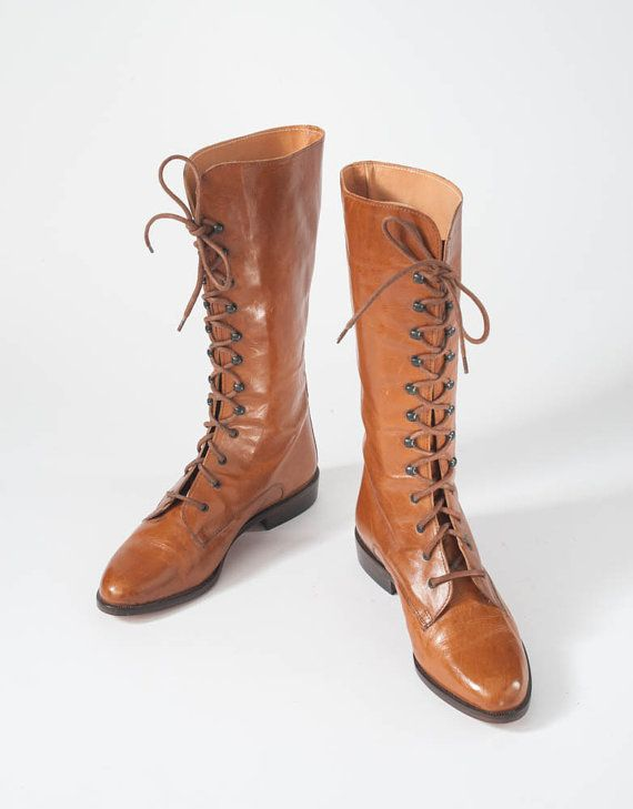 70f469a97fbf73 Ladies FAB UNWORN RARE Ladies Sz 7 Chestnut Brown Leather 1980s Joan David  BOOTS Tall Lace Up  missfarfalla